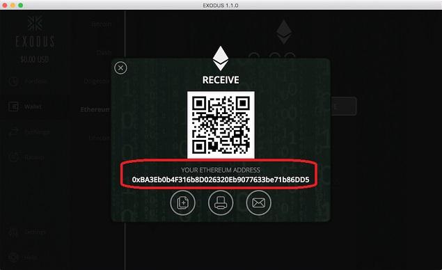 Código QR de monedero Exodus