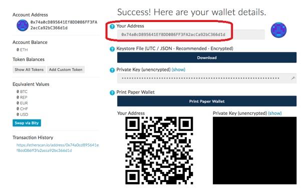 Código QR de monedero MyEtherWallet