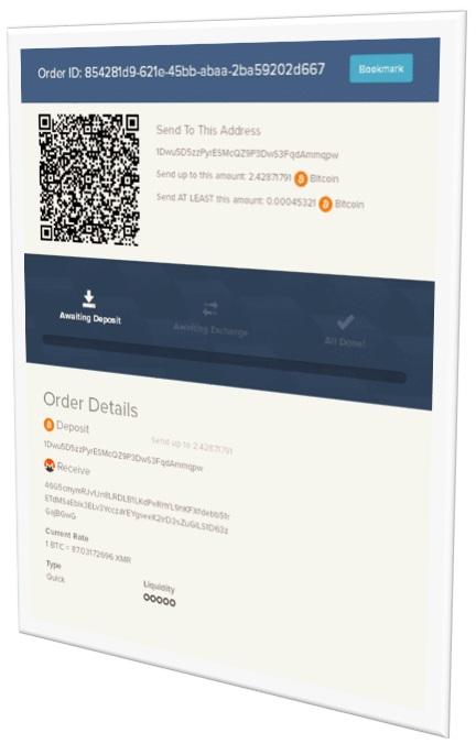 Detalle de pago en Shapeshift