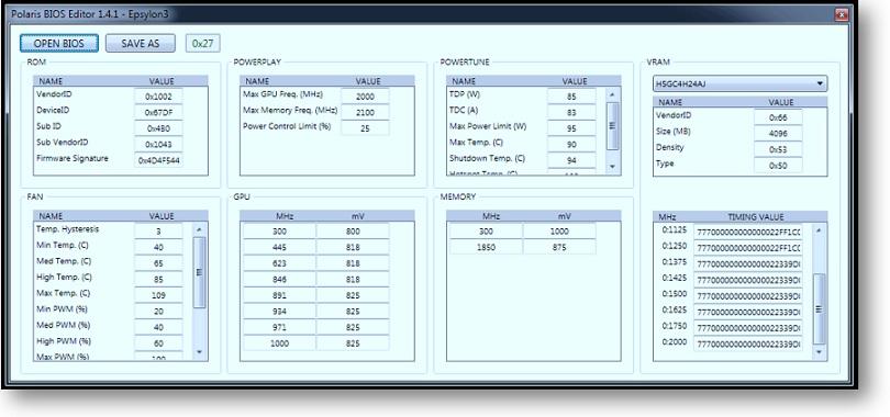 Polaris BIOS Editor-valores personalizados del BIOS