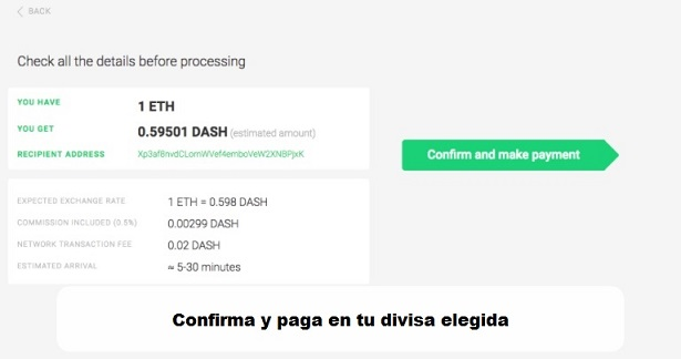 Changelly-confirmar y pagar en tu divisa