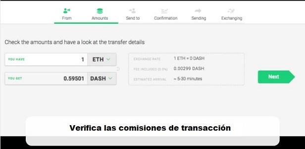Changelly-verificar comisiones de transacción