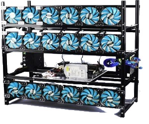 Rig Apilable de Aluminio Ventilador Azul 18 GPU
