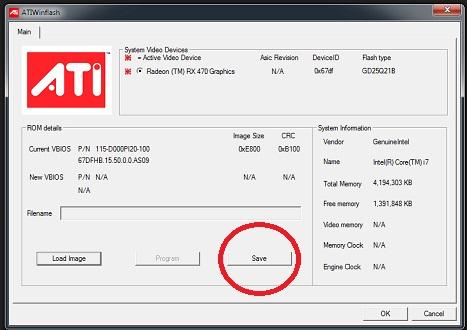 ATIWinflash-guardar configuración