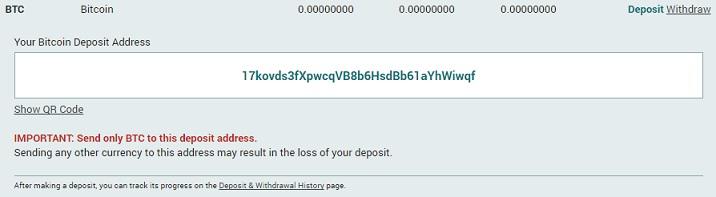 Poloniex-dirección bitcoin