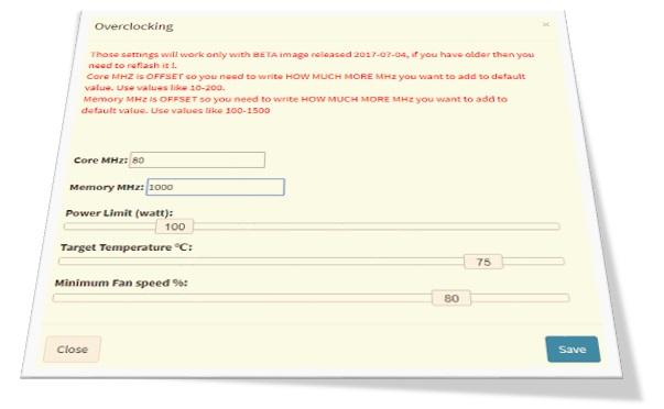 SimpleMining: configuración de opciones de rendimiento