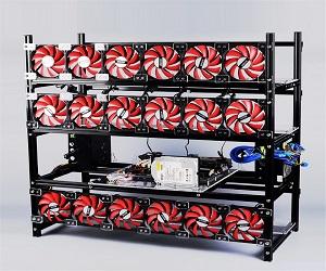 Rig Apilable de Aluminio Ventilador Rojo 19 GPU