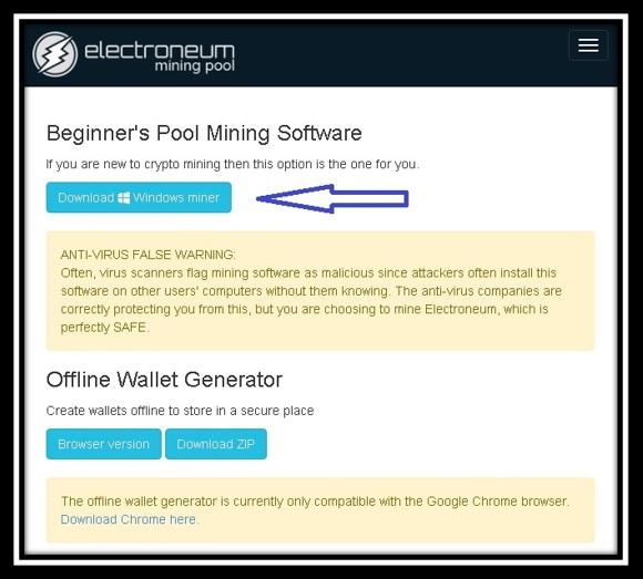 Descargar el software de minería